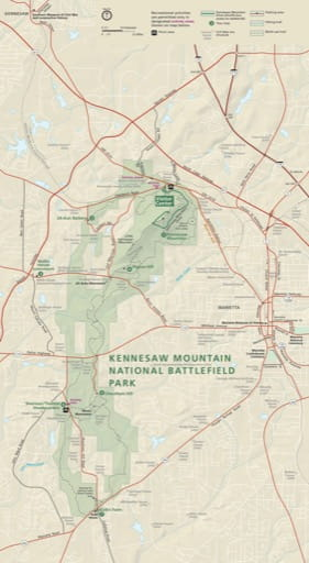 Official visitor map of Kennesaw Mountain National Battlefield Park (NBP) in Georgia. Published by the National Park Service (NPS).
