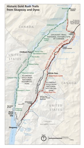 Map of Historic Gold Rush Trails from Skagway and Dyea in Klondike Gold Rush National Historical Park (NHP) in Alaska. Published by the National Park Service (NPS).