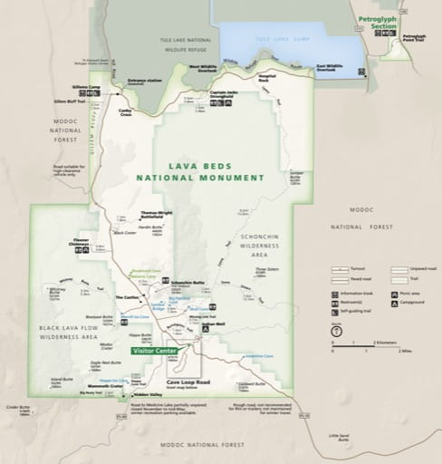 Official visitor map of Lava Beds National Monument (NM) in California. Published by the National Park Service (NPS).