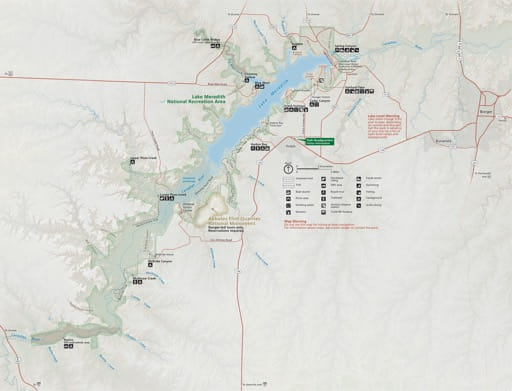 Official Visitor Map of Lake Meredith National Recreation Area (NRA) in Texas. Published by the National Park Service (NPS).