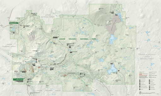 Official visitor map of Lassen Volcanic National Park (NP) in California. Published by the National Park Service (NPS).