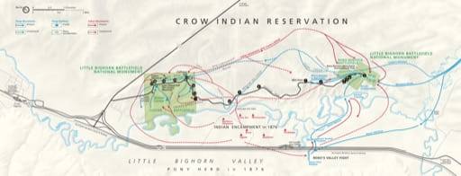 Official visitor map of Little Bighorn Battlefield National Monument (NM) in Montana. Published by the National Park Service (NPS).