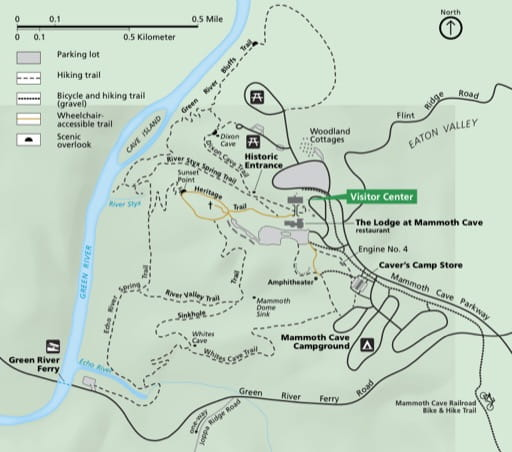 Detail of the official visitor map of Mammoth Cave National Park (NP) in Kentucky. Published by the National Park Service (NPS).