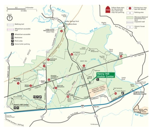 Official visitor map of Manassas National Battlefield Park (NBP) in Virginia. Published by the National Park Service (NPS).