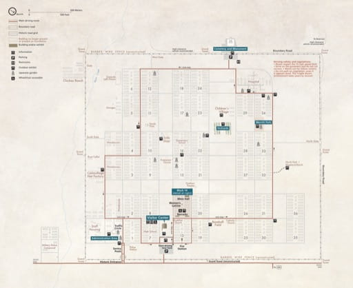 Official visitor map of Manzanar National Historic Site (NHS) in California. Published by the National Park Service (NPS).