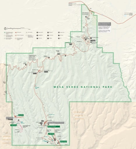 Official visitor map of Mesa Verde National Park (NP) in Colorado. Published by the National Park Service (NPS).
