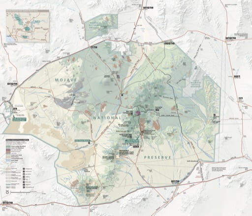 Official visitor map of Mojave National Preserve (NPRES) in California. Published by the National Park Service (NPS).