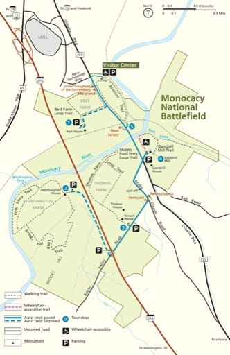 Official Visitor Map of Monocacy National Battlefield (NB) in Maryland. Published by the National Park Service (NPS).