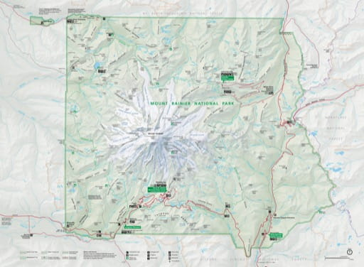 Official visitor map of Mount Rainier National Park (NP) in Washington. Published by the National Park Service (NPS).