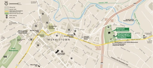 Detail of the official visitor map of Morristown National Historical Park (NHP) in New Jersey. Published by the National Park Service (NPS).