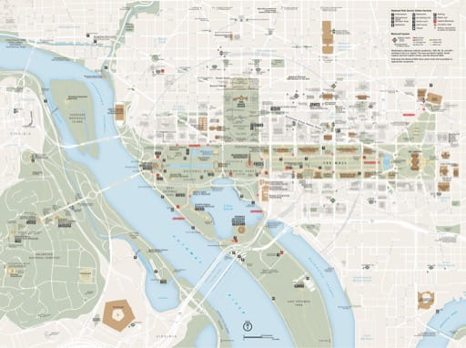 Official visitor map of National Mall and Memorial Parks in Washington D.C. Published by the National Park Service (NPS).