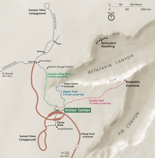 Official visitor map of Navajo National Monument (NM) in Arizona. Published by the National Park Service (NPS).