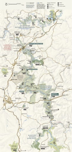 Official visitor map of New River Gorge National Park & Preserve (NP & PRES) in West Virginia. Published by the National Park Service (NPS).