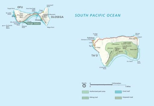 Official visitor map of National Park of American Samoa (NP). Published by the National Park Service (NPS).