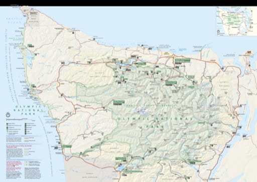 Official Visitor Map of Olympic National Park (NP) in Washington. Published by the National Park Service (NPS).