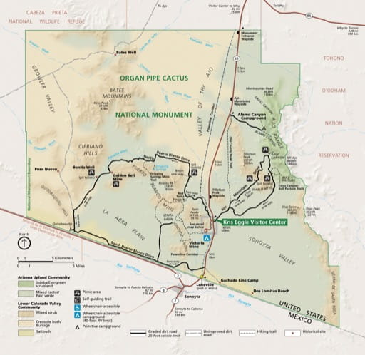 Official visitor map of Organ Pipe Cactus National Monument (NM) in Arizona. Published by the National Park Service (NPS).