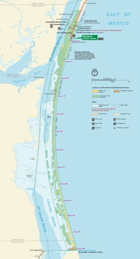 Official Visitor Map of Padre Island National Seashore (NS) in Texas. Published by the National Park Service (NPS).