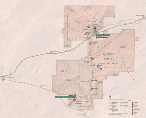 Official Visitor Map of Petrified Forest National Park (NP) in Arizona. Published by the National Park Service (NPS).
