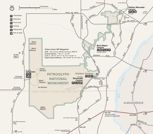 Official visitor map of Petroglyph National Monument (NM) in New Mexico. Published by the National Park Service (NPS).