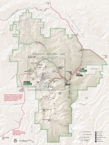 Official visitor map of Pinnacles National Park (NP) in California. Published by the National Park Service (NPS).