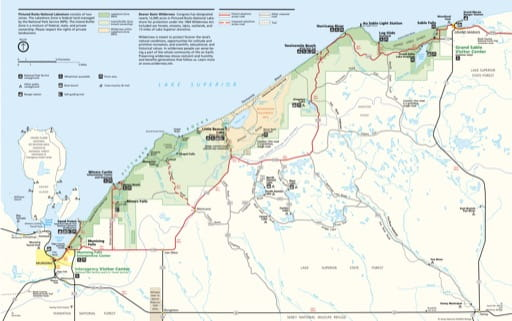 Official visitor map of Pictured Rocks National Lakeshore (NLS) in Michigan. Published by the National Park Service (NPS).