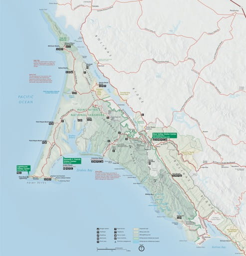 Official Visitor Map of Point Reyes National Neashore (NS) in California. Published by the National Park Service (NPS).