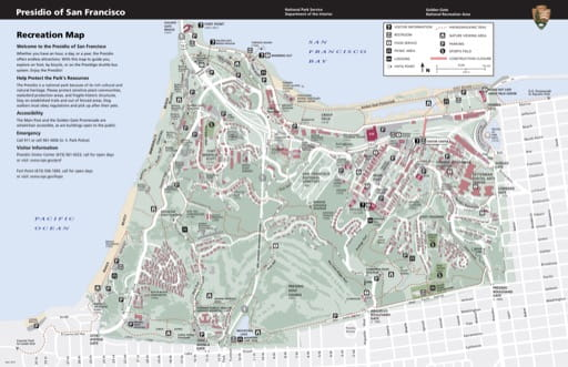 Official visitor map of Presidio of San Francisco in California. Published by the National Park Service (NPS).