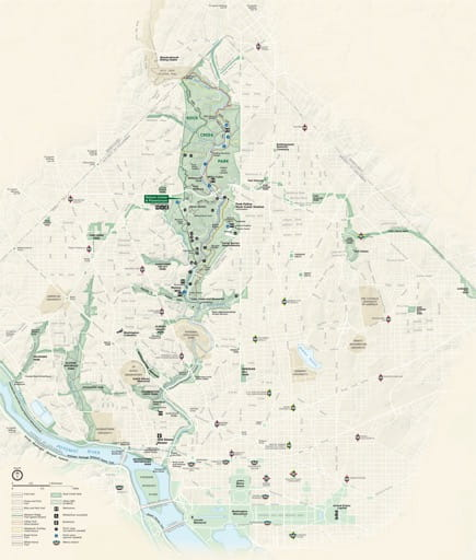 Official visitor map of Rock Creek Park in District of Columbia. Published by the National Park Service (NPS).