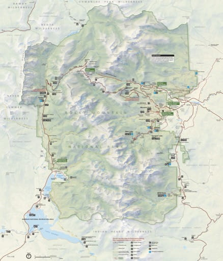 Official visitor map of Rocky Mountain National Park (NP) in Colorado. Published by the National Park Service (NPS).