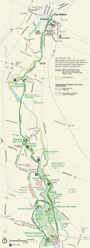 Official visitor map of San Antonio Missions National Historical Park (NHP) in Texas. Published by the National Park Service (NPS).