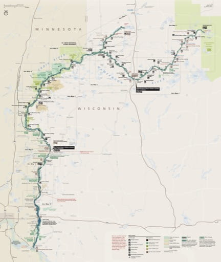 Official visitor map of Saint Croix National Scenic Riverway (NSR) in Wisconsin and Minnesota. Published by the National Park Service (NPS).