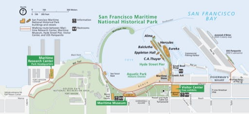 Official visitor map of San Francisco Maritime National Historical Park (NHP) in California. Published by the National Park Service (NPS).