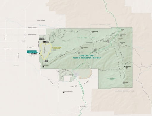 Official visitor map of the Eastern unit of Saguaro National Park (NP) in Arizona. Published by the National Park Service (NPS).