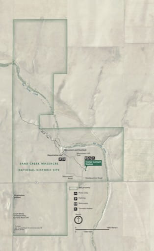 Official Visitor Map of Sand Creek Massacre National Historic Site (NHS) in Colorado. Published by the National Park Service (NPS).