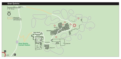 Official visitor map of Gran Quivira in Salinas Pueblo Missions National Monument (NM) in New Mexico. Published by the National Park Service (NPS).
