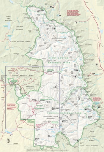 Official visitor map of Sequoia National Park (NP) and Kings Canyon National Park (NP) in California. Published by the National Park Service (NPS).