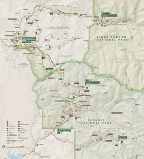 Detail of the official visitor map of Sequoia National Park (NP) and Kings Canyon National Park (NP) in California. Published by the National Park Service (NPS).