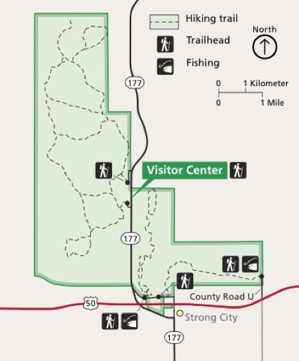 Official visitor map of Tallgrass Prairie National Preserve (NPRES) in Kansas. Published by the National Park Service (NPS).