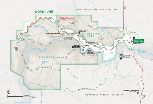 Official Visitor Map of the North Unit of Theodore Roosevelt National Park (NP) in North Dakota. Published by the National Park Service (NPS).