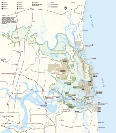 Official visitor map of Timucuan Ecological & Historic Preserve (EHPRES) in Florida. Published by the National Park Service (NPS).