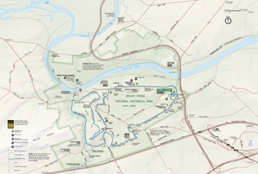 Official visitor map of Valley Forge National Historical Park (NHP) in Pennsylvania. Published by the National Park Service (NPS).