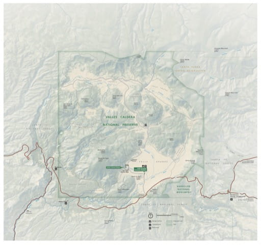 Official visitor map of Valles Caldera National Preserve (NPRES) in New Mexico. Published by the National Park Service (NPS).