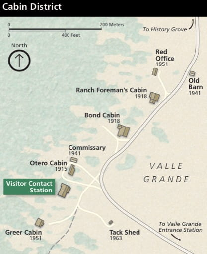 Map detail of Cabins in Valles Caldera National Preserve (NPRES) in New Mexico. Published by the National Park Service (NPS).