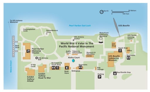 Official visitor map of Pearl Harbor National Memorial (NMEM) in Hawaiʻi. Published by the National Park Service (NPS).