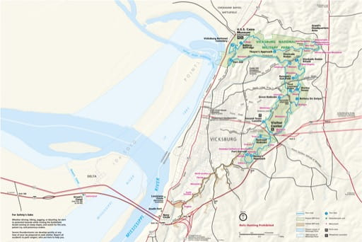Official visitor map of Vicksburg National Military Park (NMP) in Mississippi and Louisiana. Published by the National Park Service (NPS).
