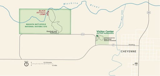 Official visitor map of Washita Battlefield National Historic Site (NHS) in Oklahoma. Published by the National Park Service (NPS).