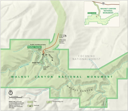 Official visitor map of Walnut Canyon National Monument (NM) in Arizona. Published by the National Park Service (NPS).