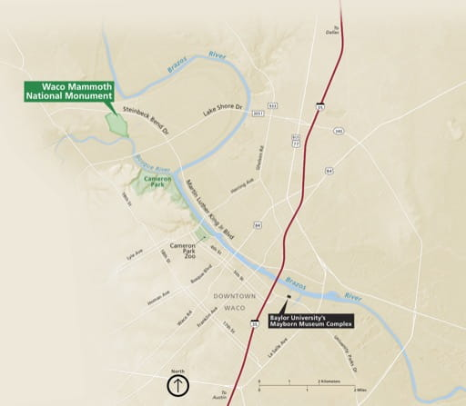 Official Visitor Map of Waco Mammoth National Monument (NM) in Texas. Published by the National Park Service (NPS).