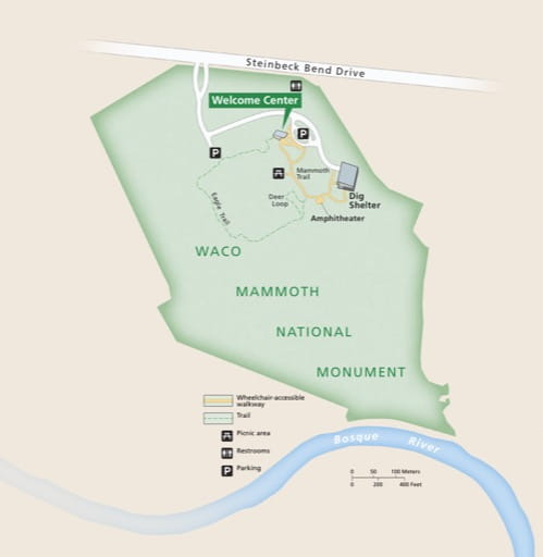 Detail Map of Waco Mammoth National Monument (NM) in Texas. Published by the National Park Service (NPS).