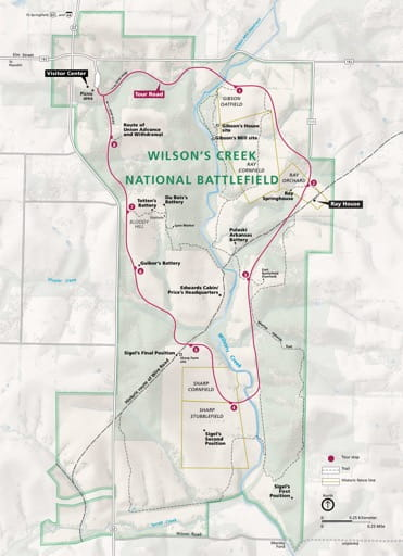 Official visitor map of Wilson's Creek National Battlefield (NB) in Missouri. Published by the National Park Service (NPS).